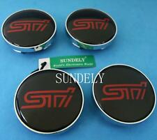 New 60mm Car Wheel Center Hub Caps Cover Emblem Badge For Subaru STI 4Pcs Black