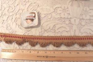"""French Victorian Antique Christmas Red & Tan Passementerie Trim~1.5"""" X 88""""~Dolls"""