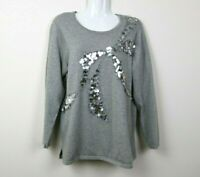 Quacker Factory Womens Sweater Sequins Bow Long Sleeve Knit Gray Size Small EUC
