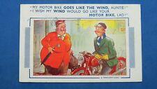 Vintage Bamforth Comic Postcard 1955 Ariel Huntmaster Motorbike Motorcycle WIND