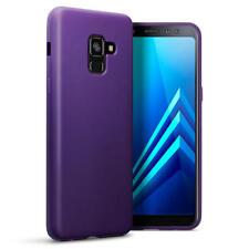 Slim Rubber Bumper Gel Case Cover for Samsung Galaxy A8 2018 - Matte Purple