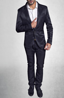 Men's Barabas Black Rockstar Party Slim Straight Fit Glossy Finish Dress Pants