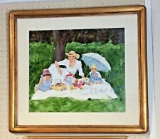 Original Oil Painting by CHARLES APT of Mother with Children on a Picnic