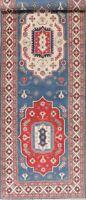 Geometric LIGHT BLUE Palace 19 ft Wide Runner Super Kazak Oriental Rug Wool 6x19