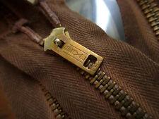 "True Vtg 60s 16"" Serval BRASS PULL HEAVY JACKET Military Zipper USA BROWN"