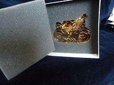 #315 vtg christmas Danbury Mint ornament 2004 Gold tone Victorian Sleigh W Box