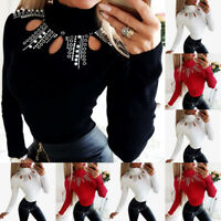 ❤️ Women Hollow Long Sleeve T Shirt Ladies Casual High Neck Slim Fit Blouse Tops