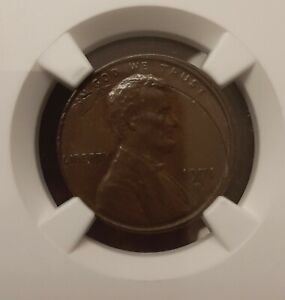 1971-D LINCOLN PENNY Incomplete Curved Clip NGC Mint Error black beauty patina