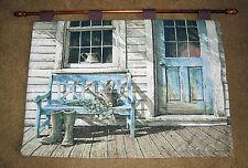 Cheerful Chores ~ Backdoor Gardener Tapestry Wall Hanging