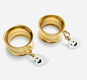Halloween White Ghost Gold Screw-Fit Dangle Flesh Tunnel Ear Plug 6mm - 25mm