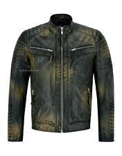 Mens Real Leather RACER Jacket Navy Rust Beige Quilted Shoulder Biker Style 2565