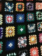 VTG Afghan Crochet Granny Square 65x52 Blanket Handmade Throw Bed Couch Quilt