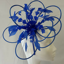 Sapphire Feather Fascinator For Races, Proms , Weddings