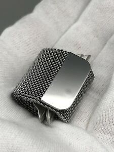 Authentic Original Apple Milanese Loop Watch Band Silver - 42 44 - MIRROR FINISH