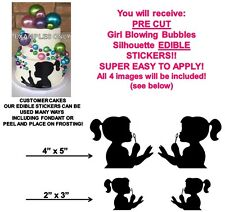 Girl Blowing Bubbles Silhouette Edible Cake Stickers Girl Edible Cake Cut Outs