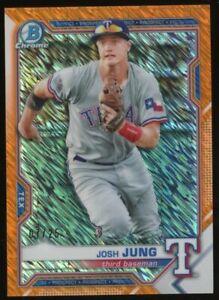2021 Bowman Chrome Orange Shimmer Refractor Josh Jung Rangers RC Rookie /25