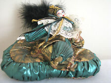 Harlequin porcelain Jester Doll Mardi Gras clown  8 1/2 inch Green & Gold
