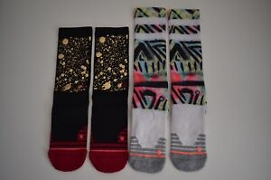 (2) Stance Women's Precision Crew, Athletic Socks Size Small, Coral & Endorphin