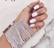 13 ROW SILVER MADE WITH SWAROVSKI  CRYSTALS CHAIN BRACELET BANGLE PARTY A15 A14