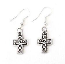 Knot Cross Earrings 925 Sterling Hook Vintage Silver Alloy Irish Charm Celtic