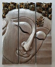 Fair Trade Thai Buddha 3D 3 piece Carved Wood Wall Art/Sculpture Wall Hanging