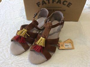 "Fatface tan tassels espadrille wedge ""Mia"" size uk 5/38"