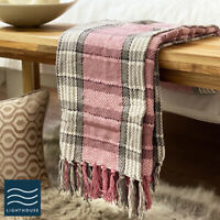 Luxury Pure ECO Cotton Blush Pink / Grey Tartan checked Large Sofa Bed Throw