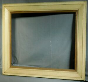 Vintage Modern Carved Wood  White Paint Mid Century Picture Frame Painting 20x24