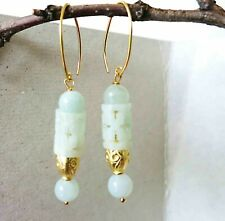 Vintage Chinese Gold Vermeil Sterling Carved Jadeite Jade Earrings