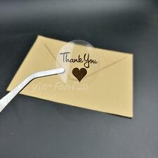 "1.18"" Round & transparent Thank you With black Heart Sticker,Sealing Sticker 100"
