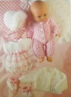 """Baby Doll Vintage Knitting Pattern Sleepsuit Coat Bonnet Dress Bootees 14"""" S3072"""