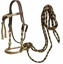 Showman Western RAWHIDE BOSAL Leather FUTURITY KNOT Headstall & MECATE Reins