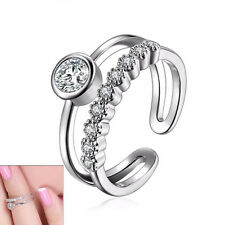 Hot Fashion Women Silver Plated Austrian Crystal Adjustable Joint Knuckle Rings