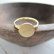 Full Moon round circle dainty simple minimalist ring yellow gold tone size 7