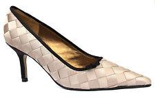 Menbur Ladies UK 5 Camel & Brown Satin Lattice Pointed Brand New Court Shoes