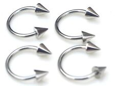 "4 PC 16G 3/8"" Steel Spike Cone Horseshoe Barbell Lip Septum Nose Helix Ear Ring"