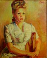 PORTRAIT OF LADY. OIL ON CANVAS. SIGNED RODA. SPAIN. 1946