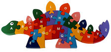 Children Wooden Jigsaw Puzzle ABC Numbers Dinosaur for Kids