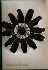 Black Enamel Daisy Flower Brooch Pin Genuine Crystal Rhinestone Accents