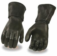Men's Thermal Lined Leather Gauntlet Glove HD125 for Motorcycle Riders
