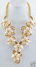 Kenneth Jay Lane polish gold swirl white pearl crystal flower 'Y' necklace