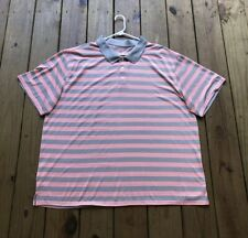 Great Northwest men's 3X orange & gray striped short sleeve polo shirt
