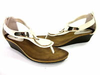 BUCCO WOMEN'S DEMURE WEDGE FASHION COMFORT SANDALS BEIGE SYNTHETIC US SIZE 8 MED