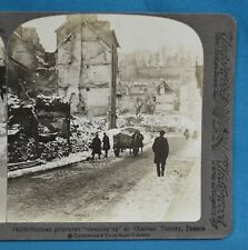 WW1 Stereoview Photo German Prisoners Cleaning Up Chateau Thierry Underwood