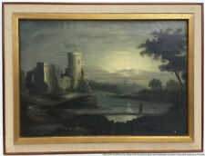 Antique 19c Thomas Chambers School Hudson River Moon Goupil NY Canvas Painting