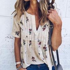 Mode d'été Femmes Col V Manches Courtes Hauts Floral T-shirt Chemisier Chemise