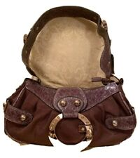 NWOT GUESS HANDBAG SHOULDER BAG Brown PURSE Satchel Satin & Patent Faux Leather