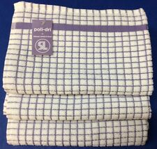 Samuel Lamont Poli-Dri Kitchen/Tea Towels White/Lavender 3 Piece Set 100% Cotton