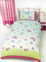 FLORAL FLOWERS BUTTERFLIES POLKA PINK COTTON BLEND DOUBLE 4 PIECE BEDDING SET