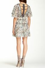 Free People Grey Mint Green Drop Waist Floral Dress Caged Strappy Back SZ 4